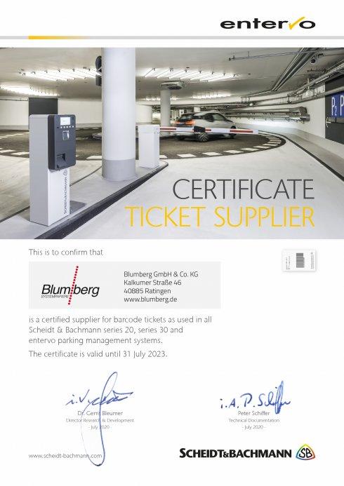 Parktickets Zertifikat - Scheidt & Bachmann